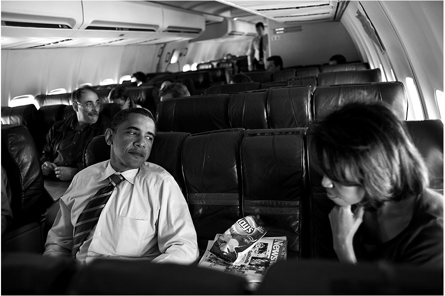 With Michelle on his campaign plane.
